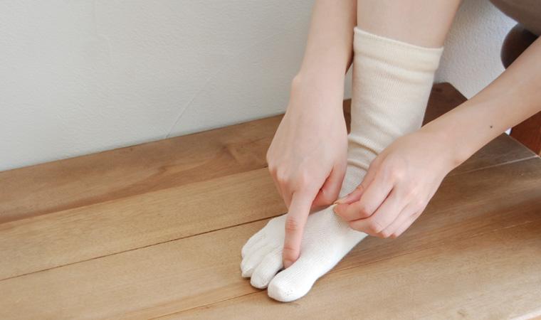 にそくぶん靴下 絹と綿 5本指