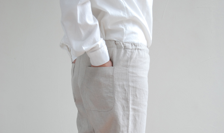 リネン平織り イージーパンツ