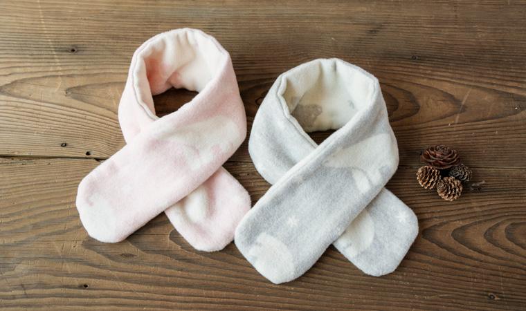 綿毛布でつくった シロクマ柄 ベビーマフラー