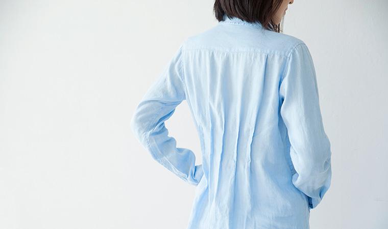 フランダースリネン 水のいろ ロングシャツ