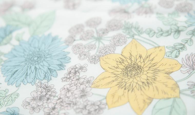 オーガニックコットン ストール Drawing flowers  <colorful>