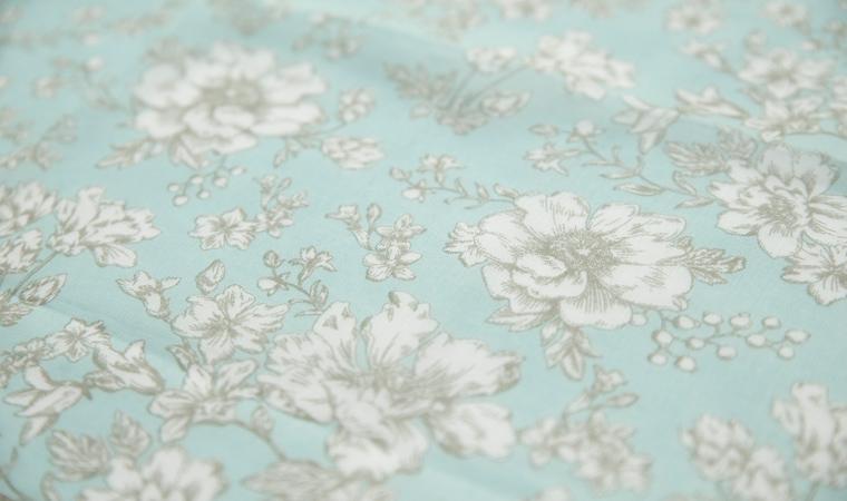 オーガニックコットン ラージハンカチーフ Drawing flowers  <natural>
