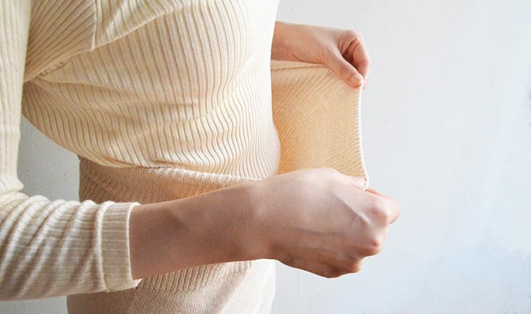 オーガニックコットンでつくった 縫い目のない腹巻ニットパンツ