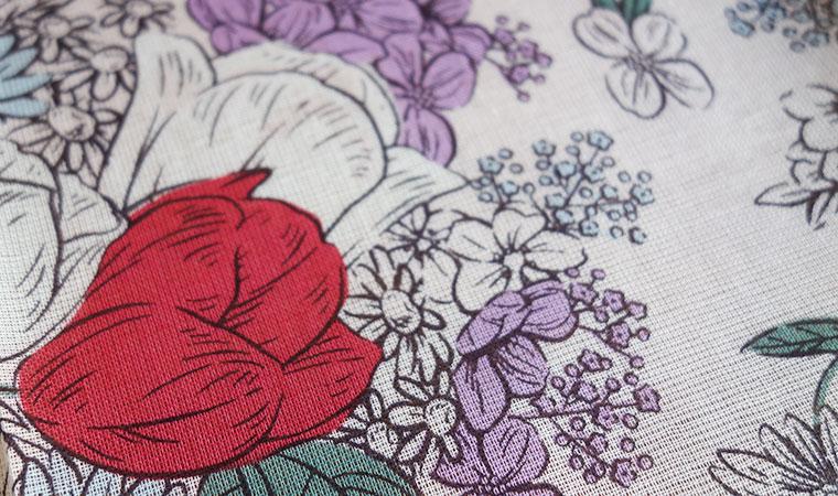 オーガニックコットン ラージハンカチーフ Drawing flowers  <Retro>