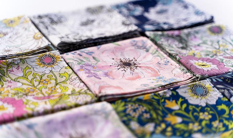 オーガニックコットン Drawing -Handkerchief- シフォンフラワー