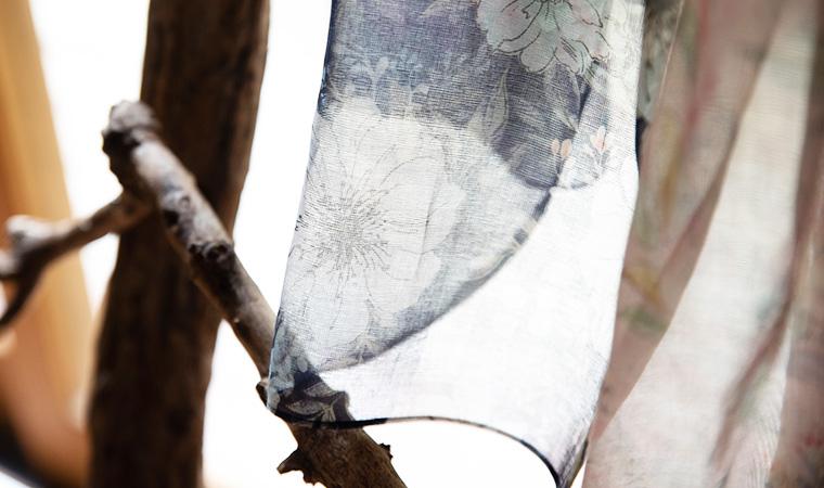 オーガニックコットン Drawing -Stole- シフォンフラワー