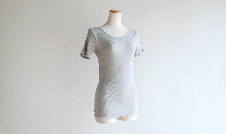 婦人 リブカラー 半袖シャツ